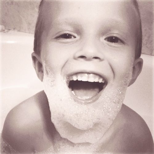 Child Childhood Children Only Front View One Person Headshot Domestic Bathroom Looking At Camera Close-up Portrait Human Face Water Happiness Bubble Bath Beard