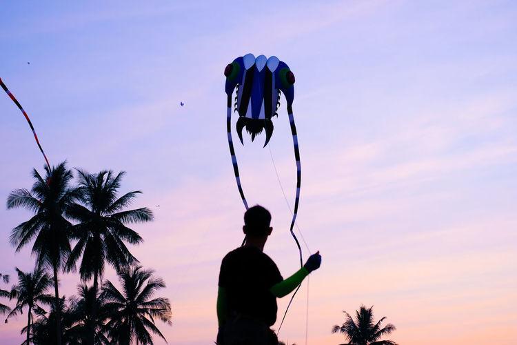 Silhouette man flying kite against sky at sunset