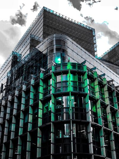 The glass is greener Uk England London Blackandwhite Bnw ShotOnIphone IPhoneography Mobilephotography Colour Pop Green Building Exterior Built Structure Low Angle View Architecture Building Sky No People City Window Cloud - Sky Pattern Modern Green Color Day