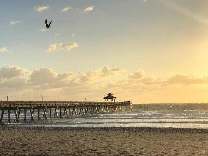 Sunday morning beach scene. Deerfield Beach Sand & Sea Gold Coast Florida Beach Fishing Pier