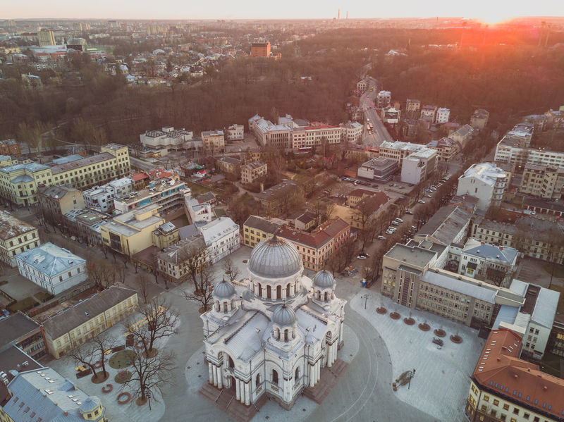 Soboras church in spring morning Aerial View Architecture Building Exterior Built Structure Church City City Cityscape Cultures Day Dome Drone  Flying High High Angle View History Kaunas Lietuva Morning No People Outdoors Soboras Sunrise Town Travel Travel Destinations
