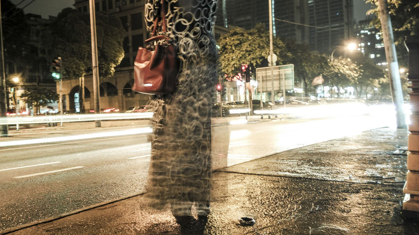 Building Exterior City Street Girl Girl In Hijab Girl Waiting Illuminated Lens Flare Light Trail Light Trails Long Exposure Long Exposure Shot Malay Motion Motion Blur Movement Muslim Night Nightphotography Road Street Waiting For Bus