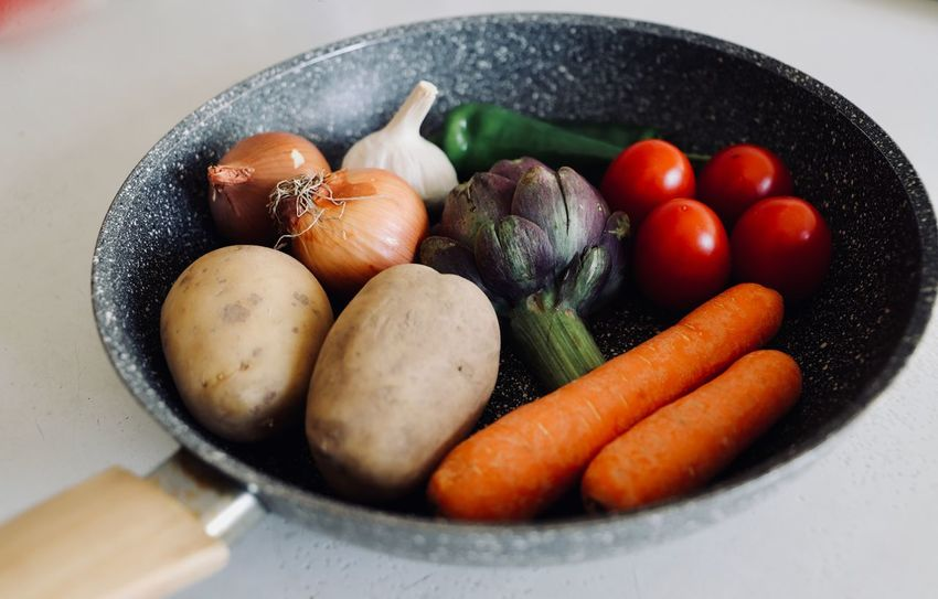 Bio Garlic Potato Vegetarian Food Vitamins Artichoke Carrot Food Food And Drink Food Photography Foodphotography Gastronomy Healthy Eating kitchen utensils Kitchenware Onions Pan Peppers Preparation  Preparing Food Raw Food Raw Potato Tomato Variation Vegetable