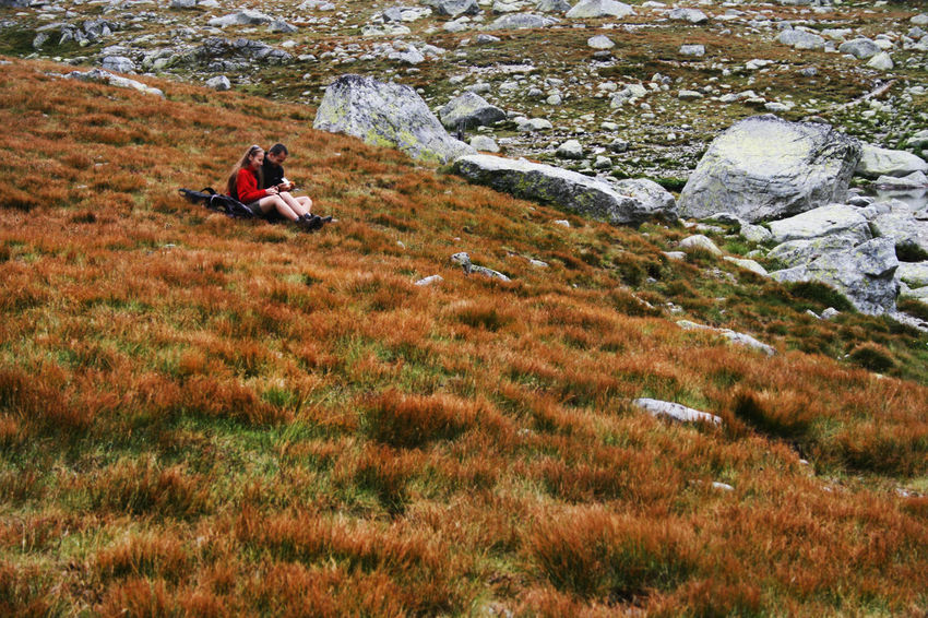 Autumn Couple Dolina Hińczowa Hiking Plants Red Tatra Mountains Tatry Tatry Poland The Week On EyeEm Adventure Autumn🍁🍁🍁 Beauty In Nature Beauty In Nature Ginger Grass Hiker Mountain Mountains Outdoors Resting Rock - Object Rocky Mountains Sitting An Eye For Travel Go Higher Summer Exploratorium