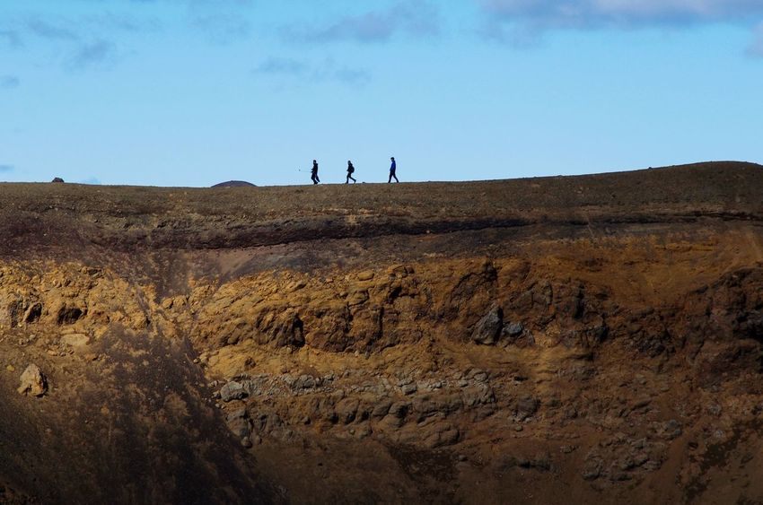 Three musketeers on a crater in Iceland Hiking Iceland Sky Nature Landscape Land Real People Beauty In Nature Environment Group Of People People Day My Best Travel Photo