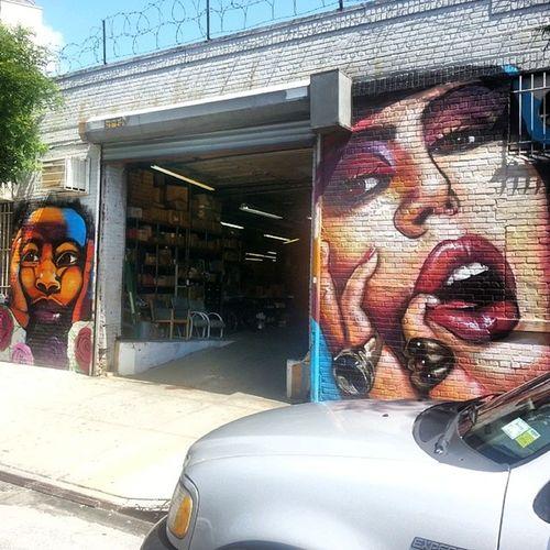 @daniellebknyc on the left. @lexibellaart on the right. DanielleBKNYC LexiBellaArt Streetart StreetArtNYC Mural Graffiti Art BushwickCollective Bushwick