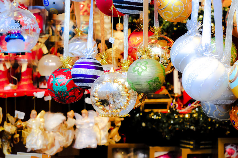 Close-up of christmas decorations at market stall