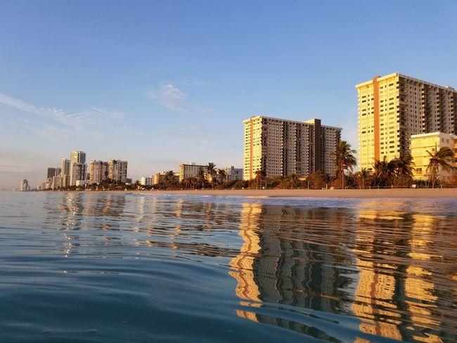Outdoors Beach Miami FL Usa 🇺🇸☀️ Hollywood Beach FL Atlantic Ocean Morning Panoramic View