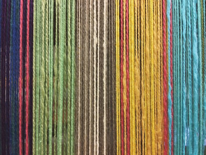 Multi Colored Textile Backgrounds Full Frame Textured  Variation Pattern Loom Yarn Yesterday's Farm Watsonville California United States