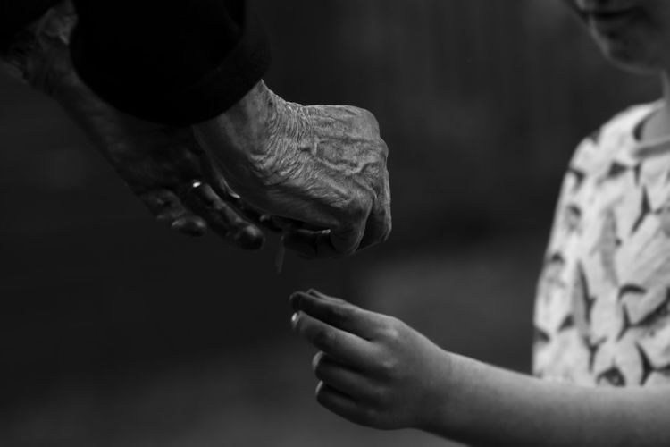 Blackandwhite Childhood Close-up Day EyeEm Best Shots EyeEmNewHere Focus On Foreground Holding Human Hand Indoors  Love Midsection Monochrome Old Woman Old Woman Hand One Person People Real People Fresh On Market 2017