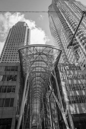 downtown buildings in Toronto Blackandwhite Monochrome Skyscraper Modern City Steel Amusement Park Sky Architecture Building Exterior Built Structure Tower Office Building Financial District  Skyline