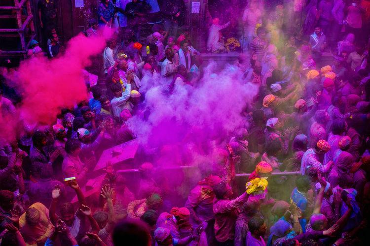 High angle view of people enjoying holi