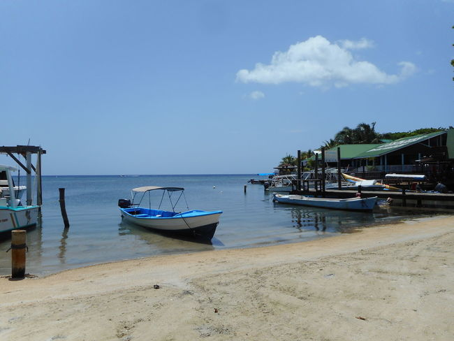 Honduras Roatan Bay Islands Beach Beauty In Nature Boat Day Horizon Over Water Jet Boat Longtail Boat Mode Of Transport Moored Nature Nautical Vessel No People Outdoors Outrigger Sand Scenics Sea Sky Tranquility Transportation Water