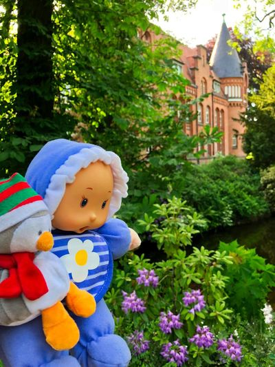 Travelling Duo Bergedorfer Schloß Bergedorfer Schloßpark Manor House Gardens Stuffed Penguin Architecture Baby Dolls Bergedorf Childhood Cute Day Flowering Plant Focus On Foreground Growth Nature Northern Germany Outdoors Schlosspark Stuffed Toy Travel Buddies