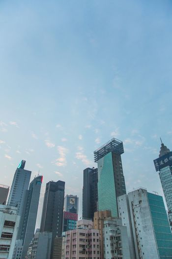 Look up. Architecture Skyscraper City Cityscape Low Angle View Rooftop Ontheroof Sky Bluesky HongKong Photography
