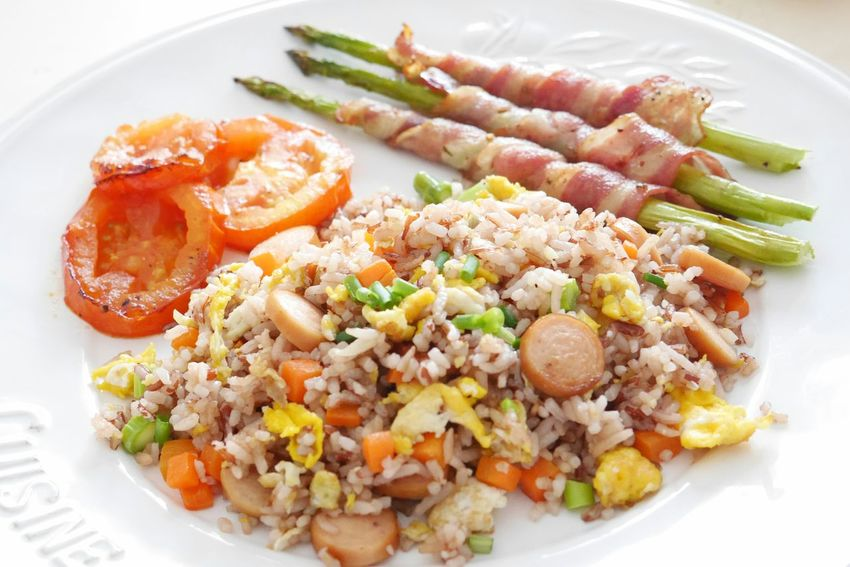 My breakfast.. Friedrice Bacon Asparagus Tomatoes