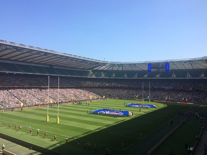 Bath vs Leicester! Bath Rugby BathRugby Leicestertigers London Bath Leicester Twickenham Rugby Stadium Sport Blue Empty Clear Sky Grass Green Color Outdoors No People Bleachers Day