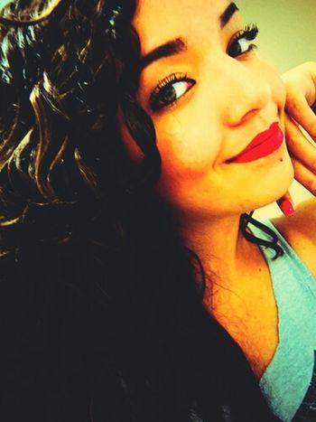 Red Lips Lipstick Girl Selfie