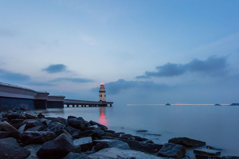 Water Sky Built Structure Architecture Cloud - Sky Building Exterior Sea Lighthouse No People Rock Rock - Object Outdoors