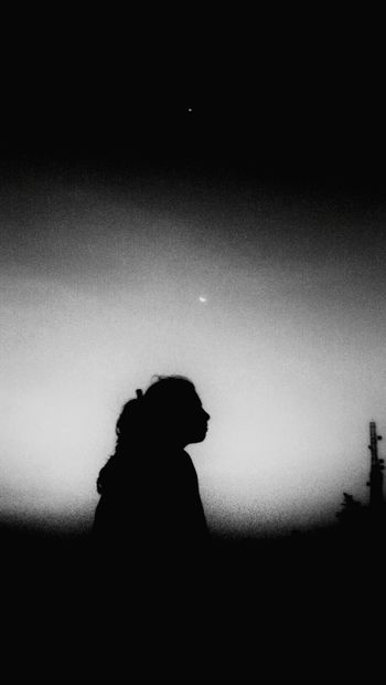 Monochrome Photography Black And White Girl Evening Sky Moon Saturn Mountain Peak Silhouette Body Outline Black And White Photography