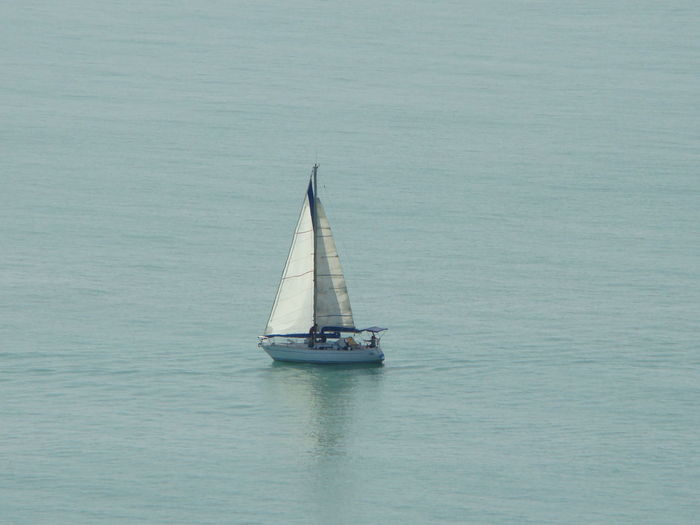 Sailboat sailing on sea