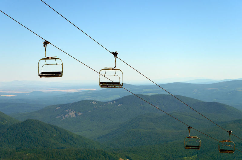 Overhead Cable Cars Over Mountains Against Sky