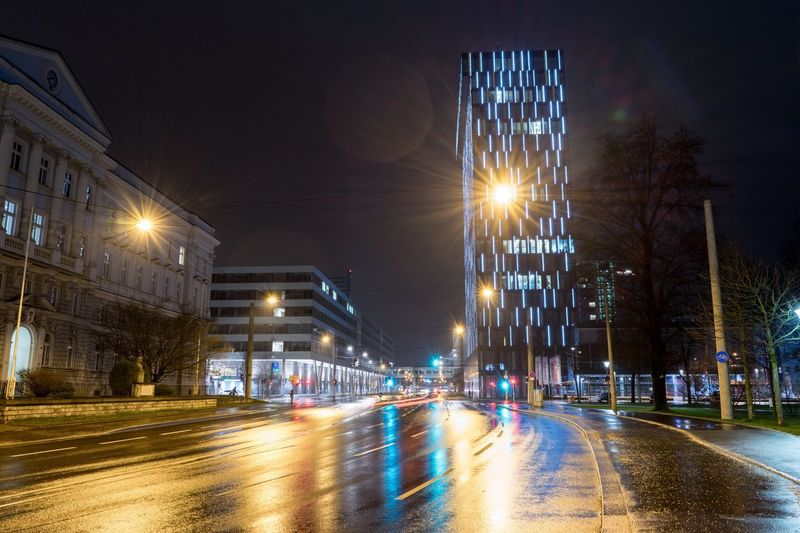 Night Lights on the main street near the main station in Linz