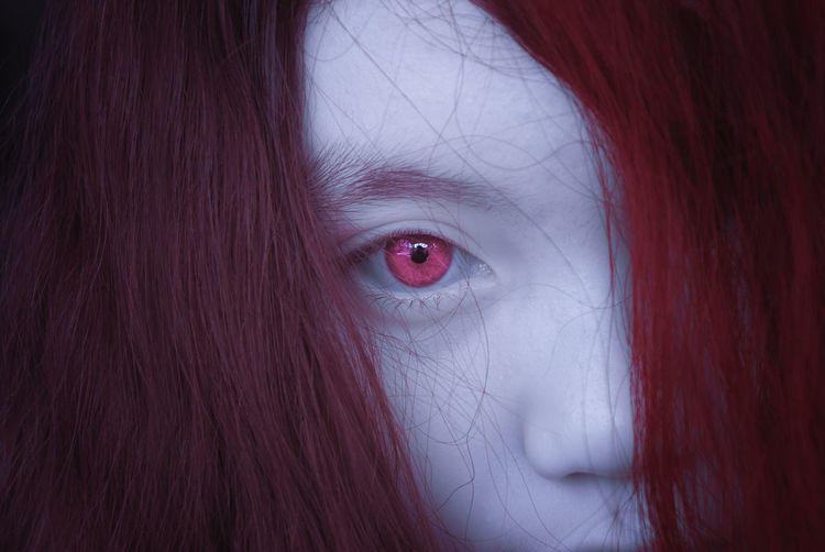 Infrared portraiture of a girl with red hair and red eyes. Close-up Dyed Red Hair Hair Hairstyle Headshot Human Body Part Human Face Human Hair Indoors  Infrared Photography Looking At Camera Obscured Face One Eye One Person Pale Skin Portrait Pulse Infrared Real People Red Red Eye Red Hair Redhead Women Young Adult Young Women