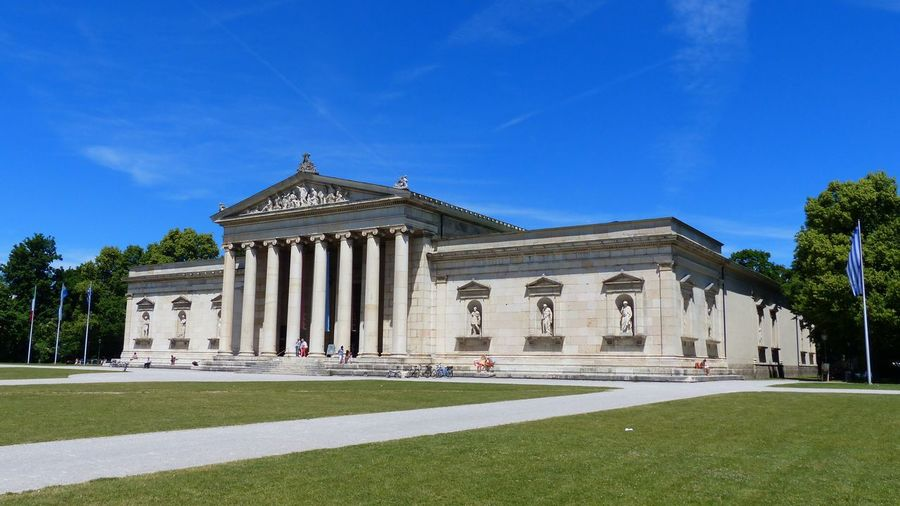 Architecture in Munich, Bavaria, Germany Museum Historical Building Architecture Built Structure Sky Building Exterior Blue Plant Architectural Column History The Past Grass Façade Tree Lawn Outdoors