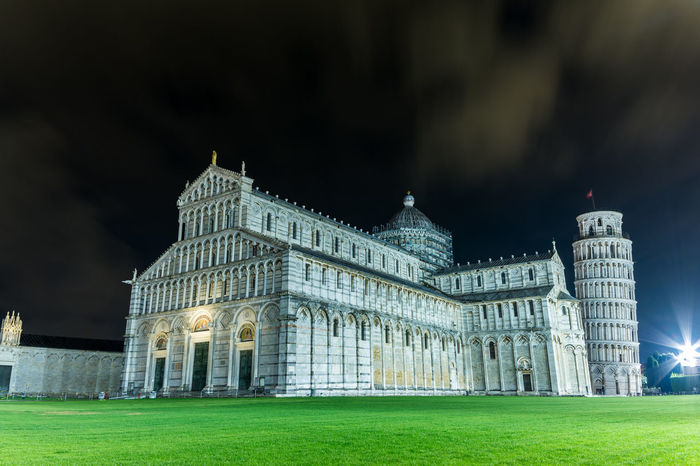 Pisa Architecture History Travel Destinations Night Outdoors City Pisa Pisa Tower Pisa Italy Tuscany Italy Grass Built Structure Building Exterior Politics And Government Illuminated No People Sky