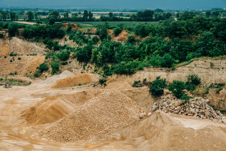 High Angle View Of Mining Industry Against Sky