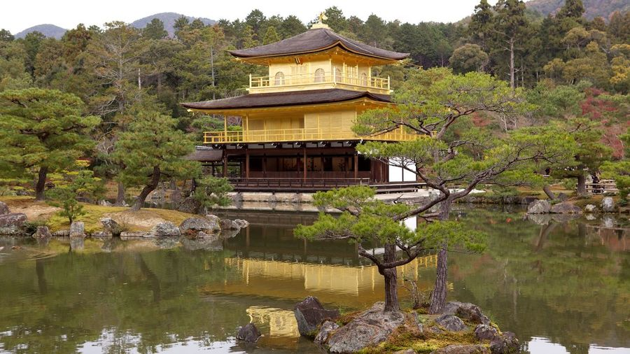 Lake By Kinkaku-Ji Amidst Trees