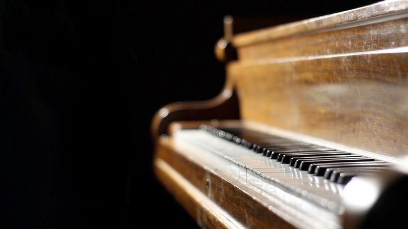 Musical Instrument Music Piano Piano Key Arts Culture And Entertainment Musical Equipment Indoors  Close-up Old-fashioned No People Musical Instrument String Classical Music Keyboard Black Background Black Backdrop Black Background No People One Vintage Piano