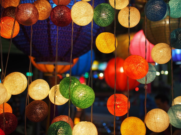 Colourful lights at night market, Thailand ASIA Lights Market Thailand A Close-up Colourful Lights Fairy Lights Hanging Illuminated Indoors  Lantern Large Group Of Objects Multi Colored Night Night Market Night Market In Thailand No People Variation