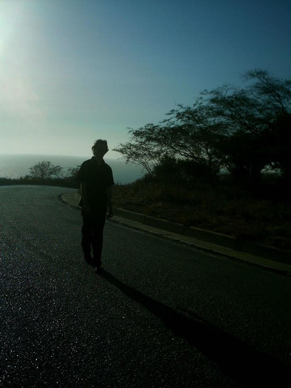 REAR VIEW OF MAN ON COUNTRY ROAD ALONG TREES