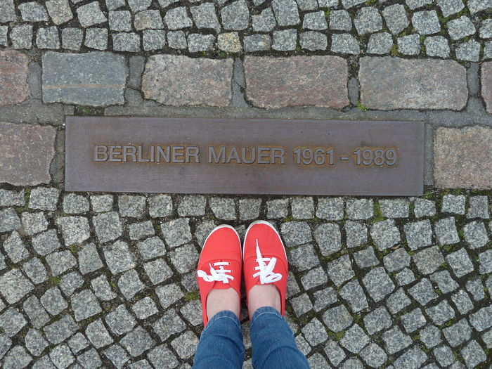 Berlin Berliner Mauer City Cityscape Icon Body Part Day Directly Above Human Body Part Iconic Muro De Berlín One Person Personal Perspective Shoe Stone The Wall