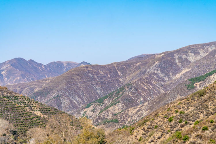Mountains of yanmen pass, China Wilderness Yanmenguan Yanmenzhai China Deep Mountains Geology Landscape Nature Scenery Scenic Spots Shanxi Province Yanmenzha Mountain Sky Scenics - Nature Beauty In Nature Clear Sky Tranquil Scene Environment Tranquility Non-urban Scene Blue Mountain Range Copy Space No People Idyllic Day Land Remote Outdoors Formation Arid Climate Climate