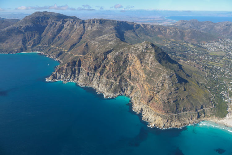 High Angle View Sea Landscape Turquoise Colored Scenics - Nature Water Beauty In Nature Mountain No People Mountain Range Day Coastline Landscape Aerial View