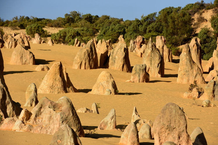 Panoramic view of rock formations in desert