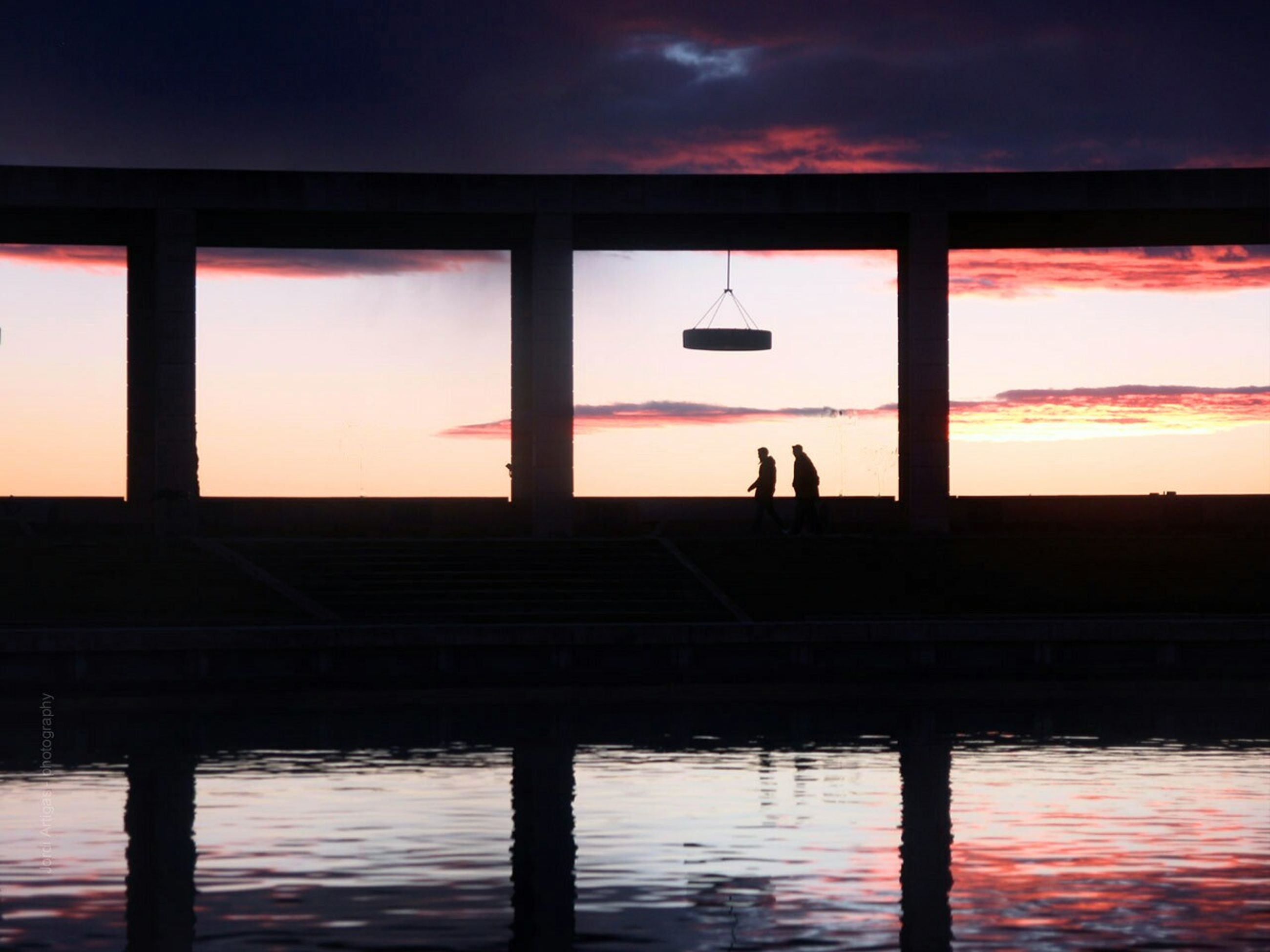 sunset, reflection, sky, water, built structure, silhouette, no people, nature, architecture, city, outdoors, day