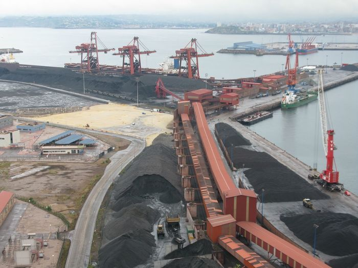 High Angle View Of Coal Mine By River