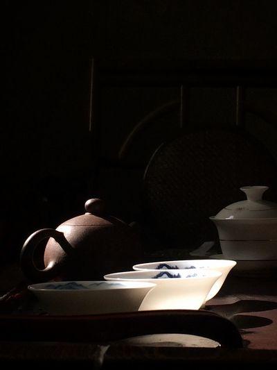 Kongfu tea KONGFU TEA Table Indoors  Shadow No People Black Background