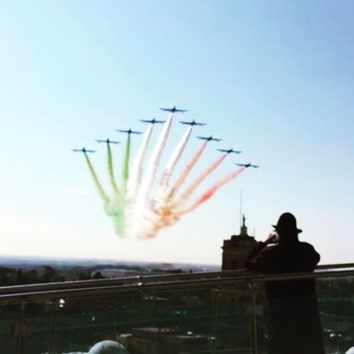 Flying People Adult Military Airshow Air Vehicle Air Force Rome Italy🇮🇹 Military Airplane Formation Flying Multi Colored Festa Della Repubblica Italiana Frecce Tricolore Airshow Bandiera Italiana Tricolore History Flags In The Wind  Flags In The Wind  2 Giugno Italia Low Angle View Invitation Ceremony Smoke - Physical Structure