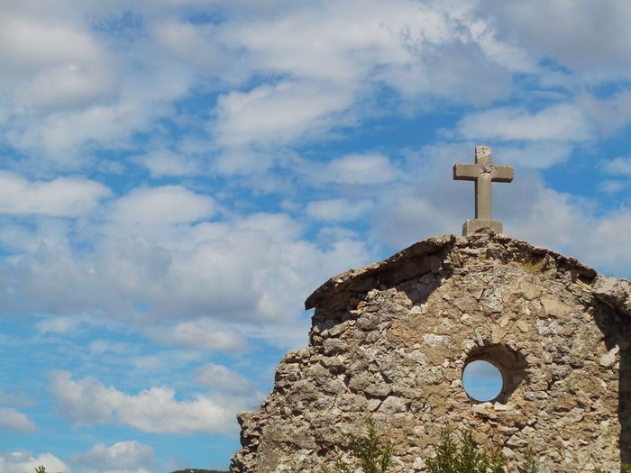Church Cloud Croatia Ruins Wall Architecture Blue Sky Built Structure Cloud - Sky Clouds And Sky Cross Day History Ledenice Low Angle View No People Novi Vinodolski Old Old Church Outdoors Place Of Worship Religion Sky Spirituality An Eye For Travel