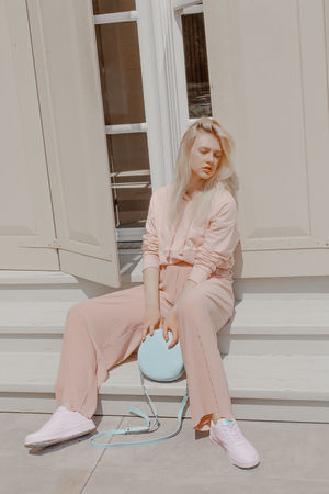 Real People Sitting Lifestyles Blond Hair Young Women Beauty Beautiful Woman Casual Clothing Resting Editorial  Fashion Editorial TheWeekOnEyeEM The Week on EyeEm Pink Color Pink Month Pink Outfit