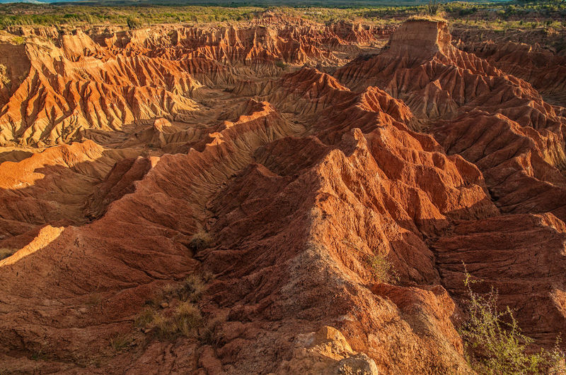 High angle view of rock formation at tatacoa desert