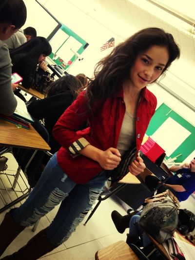 She told me that she wore red for me today :') felling the love
