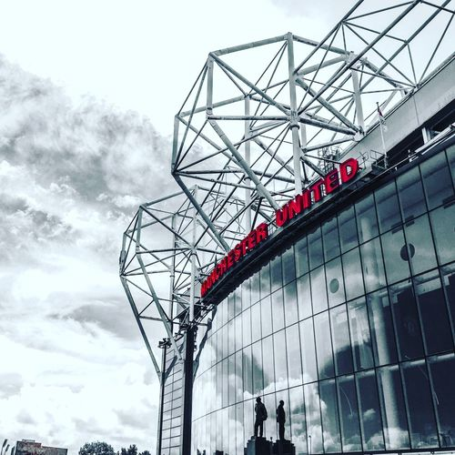 Theatre of dreams The front facade of Old Trafford , Home of Manchester United , with the statue of its legendary Theatre Of Dreams Old Trafford Manchester United Matt Busby First Eyeem Photo Football Stadium Football Soccer Facades Sky And Clouds Venue Famous Premier League Red Devils Man Utd Man U Man United