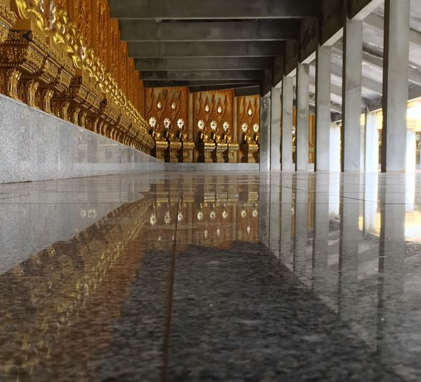 Golden Buddhas reflections in marble. Spotted In Thailand Reflection Pattern, Texture, Shape And Form Golden Buddha Gold Shot By IPhone6s Plus