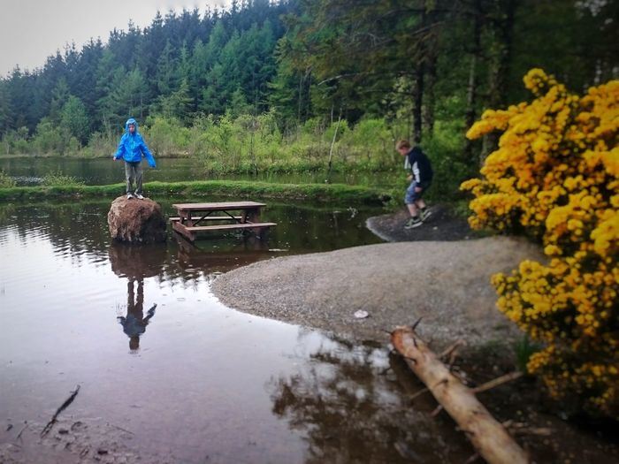 Lake Children Woods Rain Rainy Days Playing